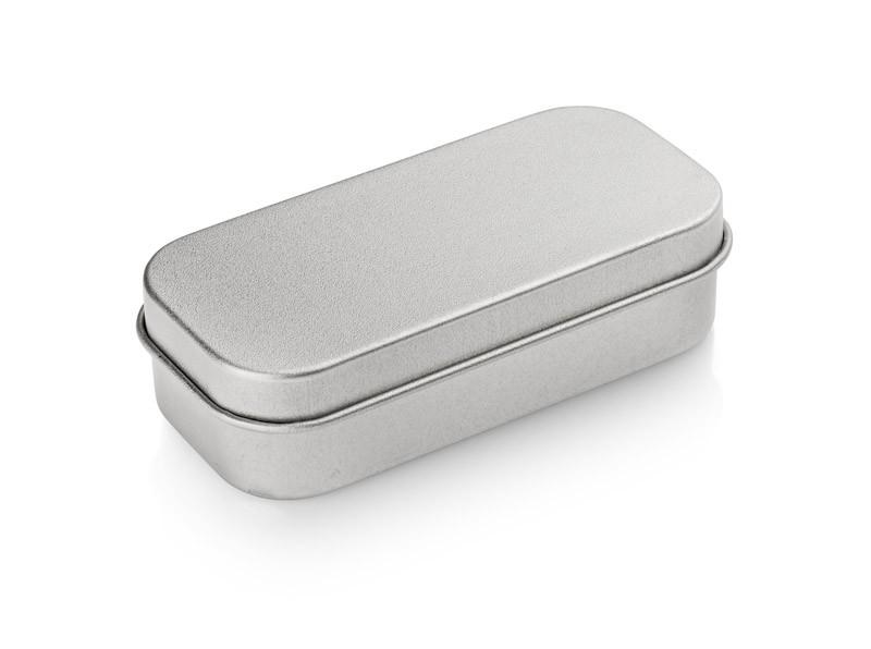 Malá kovová krabička na flash disk